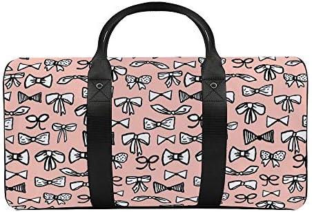 淡いピンクの弓1 旅行バッグナイロンハンドバッグ大容量軽量多機能荷物ポーチフィットネスバッグユニセックス旅行ビジネス通勤旅行スーツケースポーチ収納バッグ