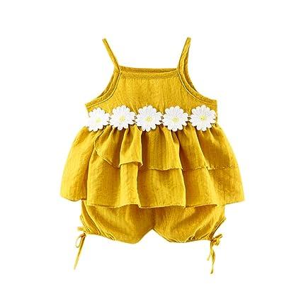 feiXIANG Ropa Infantil recién Nacido bebé niña Suspender sin Mangas de Encaje Top + Shorts de