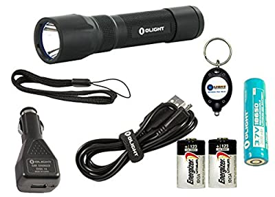 Bundle: Olight R20 Seeker Rechargeable LED Flashlight 600 Lumens w/ 1x Olight 18650 2600mAh Rechargeable Li-ion battery, 2x Energizer CR123A Lithium batteries, 1x Car charger/adaptor and 1x lightjunction Keychain light