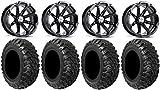 Bundle - 9 Items: MSA Black Diesel 15'' ATV Wheels 30'' Kanati Mongrel Tires [4x156 Bolt Pattern 12mmx1.5 Lug Kit]