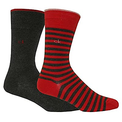 Calvin Klein 2-Pack Bar Stripe Men's Socks, Red/Graphite Heather