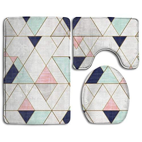 Mod Triangles Navy Blush Mint Bath Rug Set 3PCS Memory Foam Non-Slip Bathroom Rug Contour, Mat and Toilet Lid Cover
