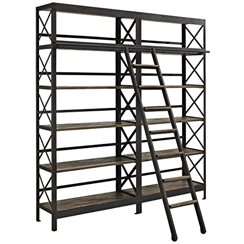 Modway Headway Industrial Modern Wood Bookshelf With Ladder in Brown
