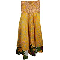 Mogul Womens Recycled Vintage Silk Sari Two Layer Bohemian Hippie Holiday Dress Skirt
