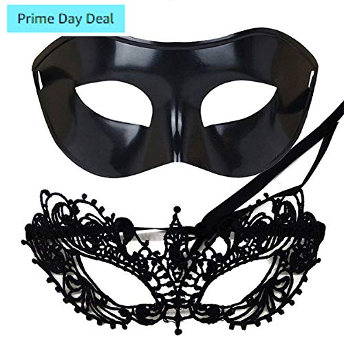 IDOXE US Size Masquerade Mask for Couples Venetian Halloween Costume Ana Lace Masks Women's Mens Adults Party Prom Ball Decor (Black) -
