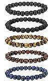 FIBO STEEL 5-6 Pcs 8MM Natural Healing Stone Bracelets for Men Women Beaded Bracelets Elastic