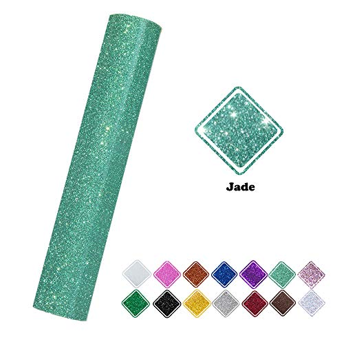 Glitter Heat Transfer Vinyl Roll Jade Color 9.8