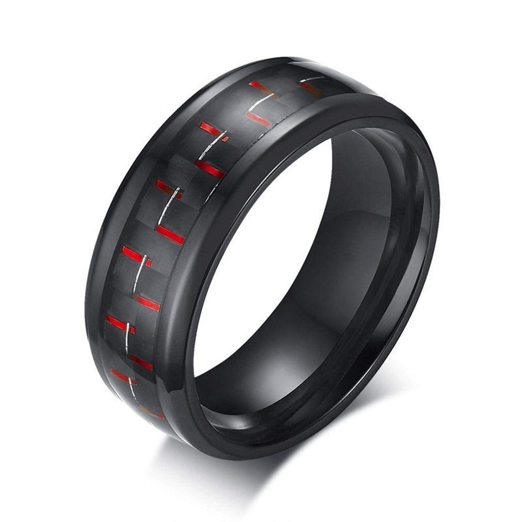 JEWURA Couple Love Ring Stainless Steel Jewelry Mat Black with Red Fiber