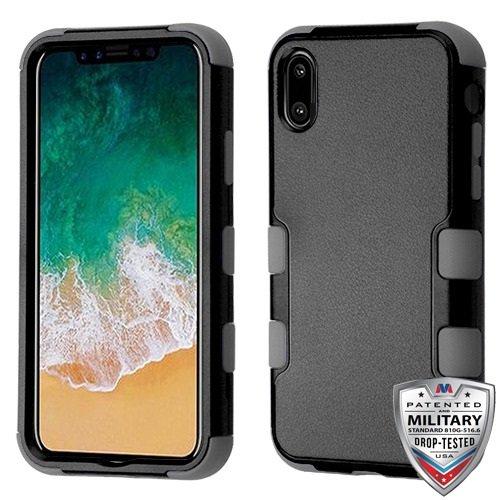 Mybat Apple-iPhone Xs/X Natural Black/Iron Gray TUFF Hybrid Phone Protector Cover [Military-Grade Certified] -  885126450089