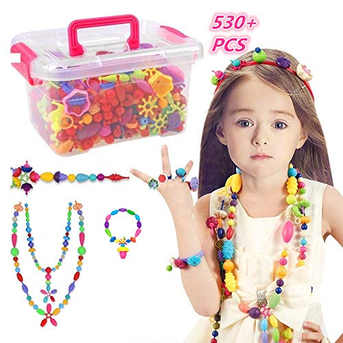 KidsMay Pop Beads Set - 530+ PCS Snap Together Beads for Girls Toddlers Creative DIY Jewelry Set Toys-Making Necklace, Bracelet, Hairband and Ring - Ideal Gift Idea for Christmas & -