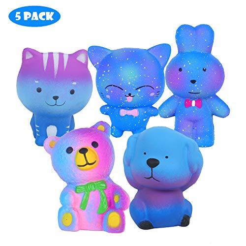 Vigeiya 5 Pack Squishies Animals Slow Rising Jumbo Cat Dog Rabbit Bear Prime Cheap Kawaii Squishy Toys by Vigeiya