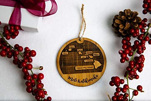 Hawaiian Islands Map Mele Kalikimaka Christmas Ornament