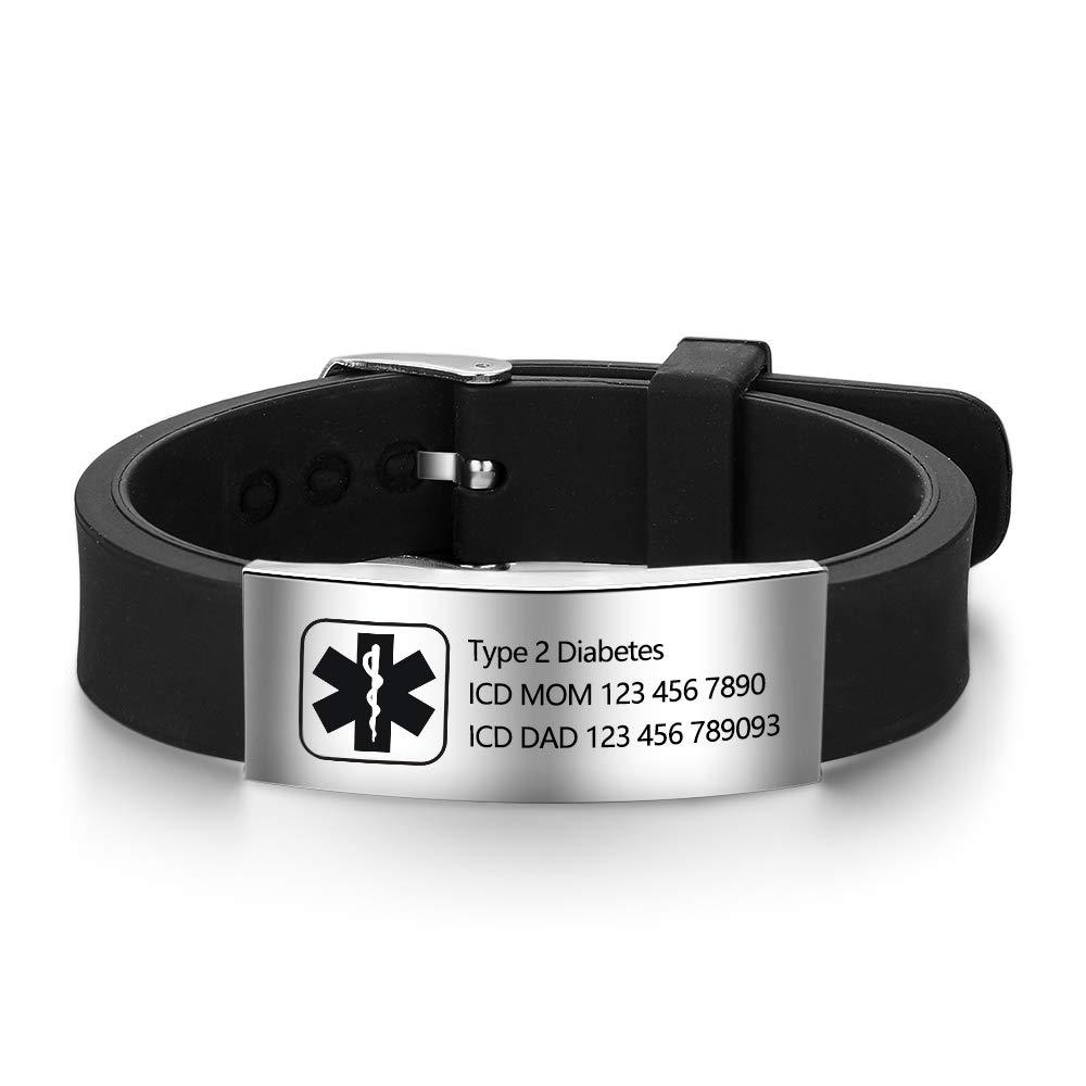 Lam Hub Fong Free Engraving 9 Inches Silicone Adjustable Medical Bracelets Emergency ID Bracelets for Men Women Kids Stainless Steel Rubber Alert Bracelets (Black-1)
