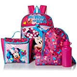 Disney Girls' Minnie Mouse 5pc Set Backpack, Pink