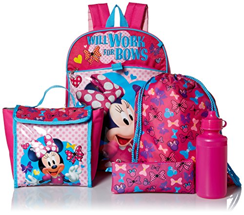 Price comparison product image Disney Girls' Minnie Mouse 5pc Set Backpack, Pink