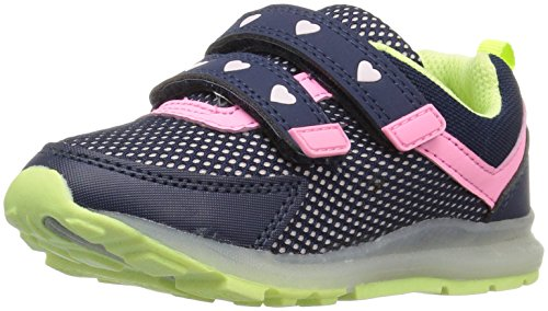 Carter's Kids' Record Boy's and Girl's Light-up Athletic Sneaker, Navy/Pink/Yellow, 5 M US Toddler (Carters Record Toddler Boys Light Up Shoes)
