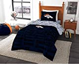 4 Piece NFL Denver Broncos Comforter Twin Set, Sports Patterned Bedding, Featuring Team Logo, Fan Merchandise, Team Spirit, Football Themed, National Football League, Orange Blue, Multi
