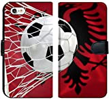 Luxlady iPhone 7 Flip Fabric Wallet Case Image ID: 34474486 Albania Flag and Soccer Ball Football in Goal net