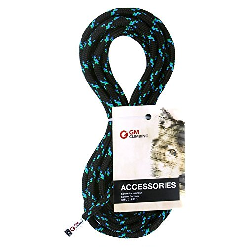 GM CLIMBING 8mm Accessory Cord Rope 19kN Double Braid Pre Cut CE/UIAA (Black, 100ft 8mm)