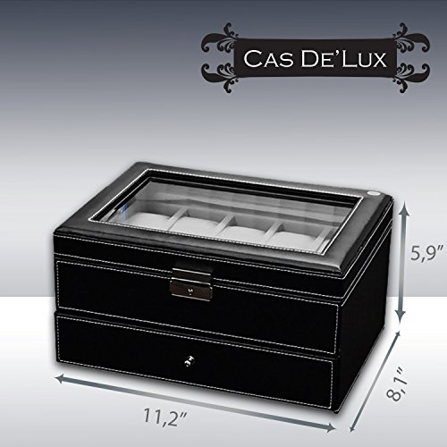 Watch Box Organizer Pillow Case - 20 Slot Luxury Premium Display Cases With Framed Glass Lid Elegant Contrast Stitching Sturdy & Secure Lock for Men and Women Watch & Jewelry Large Holder Boxes Gift by Cas De' Lux (Image #1)