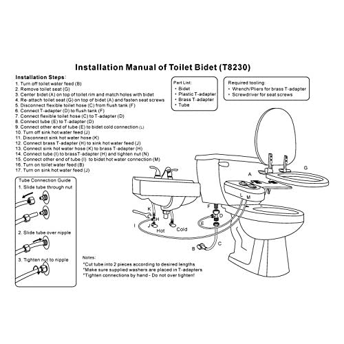 Fullrain T8230 Self-Cleaning Singlel Nozzle - Hot and Cold Water Non-Electric Mechanical Bidet Toilet Attachment chic