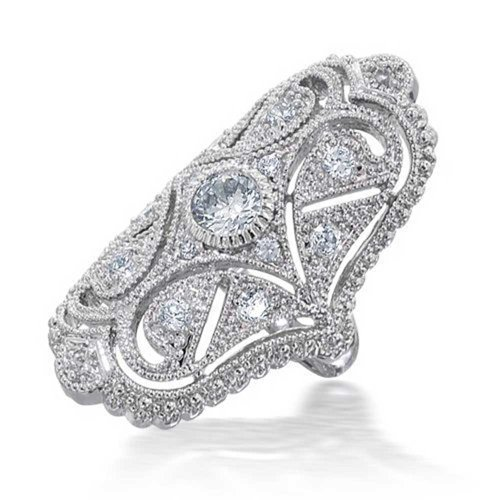 (Bling Jewelry Deco Antique Style Filigree Pave CZ Wide Armor Full Finger Fashion Statement Ring Cubic Zirconia Rhodium Plated Brass)