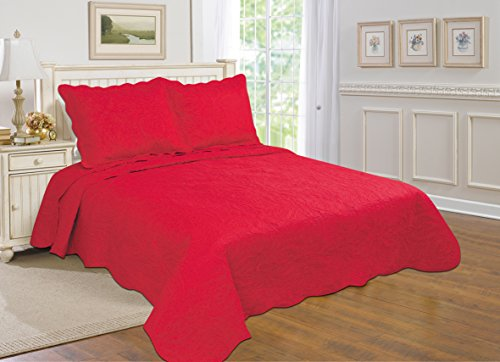 All for You 2-piece Reversible Bedspread/ Coverlet / Quilt Set with embroideries (red, twin)