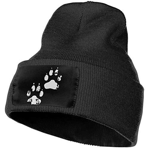 (Mens and Womens 100% Acrylic Knit Hat Cap, Dog Paw Print Original Ski Cap)