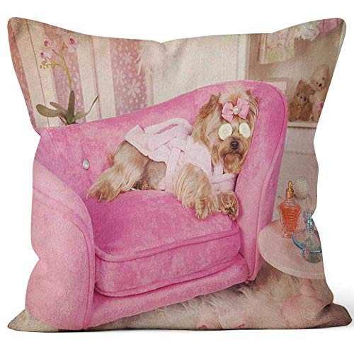 (Yorkie in Pink Robe and Slippers at Grooming Salon Spa Burlap Pillow Home Decor Throw Pillow Cover Cotton Linen Cushion,HD Printing for Couch Sofa Bedroom Livingroom Kitchen Car,20