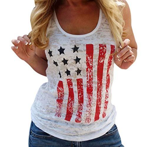 LUKYCILD Stars Strips Print Tank Top Women USA Flag Print Sleeveless T Shirt 4th July Patriotic Shirt Tee Size M (White) (Strips Stars)