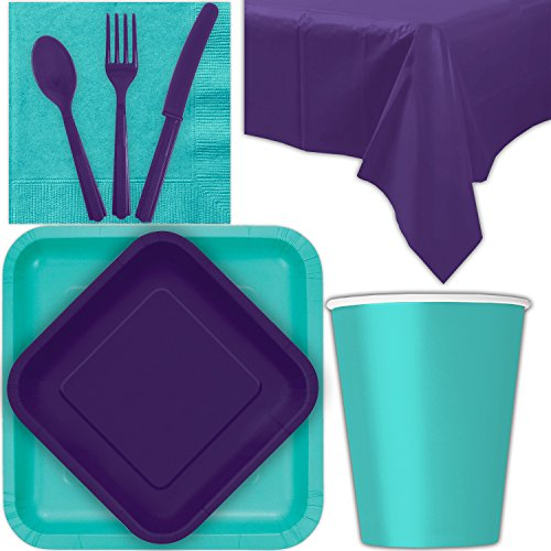 - Disposable Party Supplies for 28 Guests - Caribbean Teal and Deep Purple - Square Dinner Plates, Square Dessert Plates, Cups, Lunch Napkins, Cutlery, and Tablecloths: Premium Quality Tableware Set