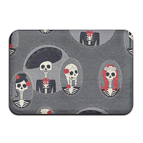 TONICCN Non-Slip Doormats Day of The Dead Sugar Skull Indoor/Outdoor/Front Mat 30x18 Inch -