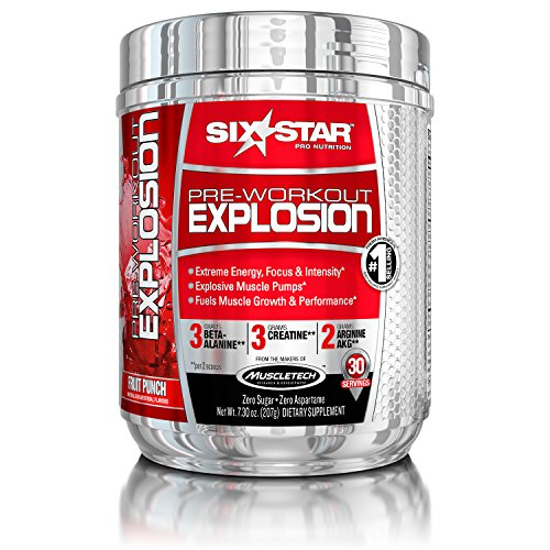 Six Star Explosion Pre Workout Explosion, Powerful Pre Workout Powder with Creatine, Nitric Oxide, Beta Alanine and Energy, Fruit Punch, 0.46 lbs (207g), 30 Servings (Packaging may vary)