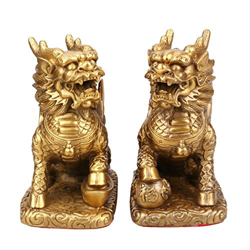 A pair of Chinese Fengshui Brass Chi Lin / Qi Lin Statue/Wealth Chi lin Figurine Home Decor Home Decoration Attract Wealth and Good Luck