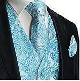 Paul Malone Turquoise Paisley Tuxedo Vest Set