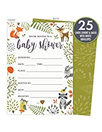 Woodland Baby Shower Invitations with Owl and Forest Animals. Set of 25 Fill-in Style Blank Cards and Envelopes. Unisex design suitable for boy or girl. BOBEBE Online Baby Store From New York to Miami and Los Angeles