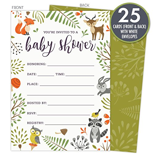 Woodland Baby Shower Invitations with Owl and Forest Animals. Set of 25 Fill-in Style Blank Cards and Envelopes. Unisex design suitable for boy or (Baby Theme Baby Shower)