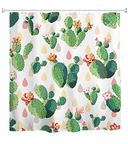 Goodbath Cactus Flowers Shower Curtains, Plant Cacti Waterproof Polyester Fabric Bathroom Shower Curtains Sets with Hooks, 72 x 72 Inch, Pink Green White Yellow
