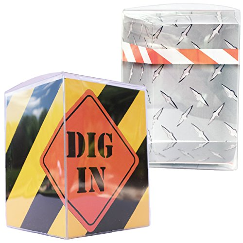 Construction Party Favor Boxes, 3x3 Clear Gift Boxes with Insert, Party Zone Theme, Builder Party Supplies, Confetti Couture, Set of 12 (Construction Theme Party Ideas)