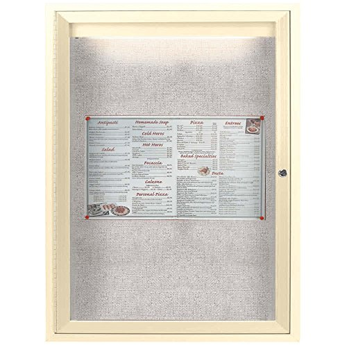 TableTop King ODCC2418RIIV 24'' x 18'' Enclosed Hinged Locking 1 Door Powder Coated Ivory Outdoor Lighted Bulletin Board Cabinet by TableTop King