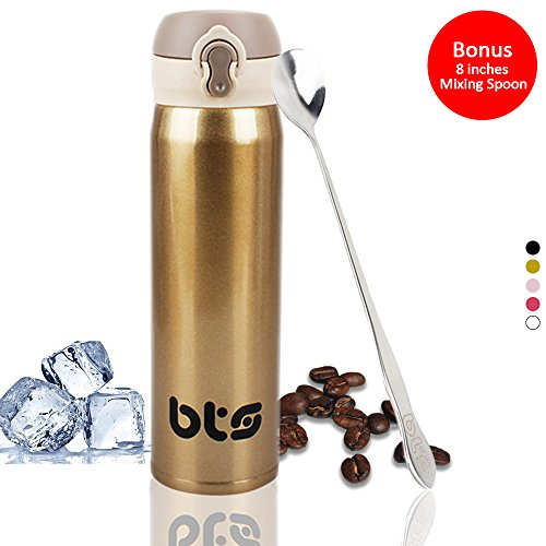 BTS Stainless Steel Travel Coffee Mug with Mixing Spoon - Di