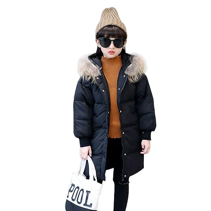LSERVER-Niñas Parka de Larga versión Coreana con Capucha Abrigo Chaqueta de Pluma Abrigo de Invierno Negro: Amazon.es: Ropa y accesorios