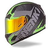 NENKI Helmets NK-856 Full Face Motorcycle Helmets DOT Approved With Iridium Red Visor and Inner Sun Shield Attached Outer Clear Visor (L, Matt Black & Green)