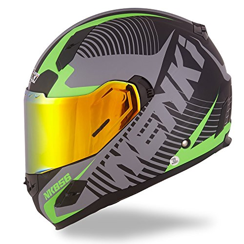 (NENKI XL Full Face Motorcycle Helmets DOT Approved With Iridium Red Visor and Inner Sun Shield Attached Outer Clear Visor (Matt Black & Green))