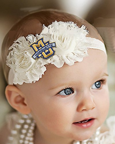 Future Tailgater Marquette Golden Eagles Baby Toddler Shabby Flower Hair  Bow Headband (Newborn - d09567b5e8b