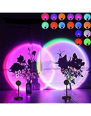 Sunset Lamp Rainbow zonsonderganglamp, 16 kleuren, 360 graden draaibaar, zonsonderganglamp, romantisch visueel voor netwerk, selfies en party's, achtergrond, slaapkamer, decoratie, ideaal geschenk voor vriendin