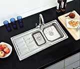 WestWood Double 1.5 Bowl Stainless Steel Kitchen Sink With Complete Plumbing Kit Drainer Waste KS01