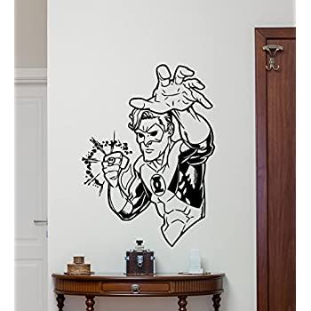 Green Lantern Wall Decal Marvel Comics Superhero Cartoon Vinyl Sticker Superhero Wall Art Design Housewares Kids Room Bedroom Decor Removable Wall Mural ...