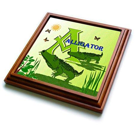 trv_52978_1 SmudgeArt Alphabet Designs - Decorative Animal Alphabet Art for children - A is for Alligators at the swamp - Trivets - 8x8 Trivet with 6x6 ceramic tile