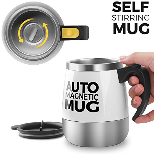 [Upgrade]Self Stirring Coffee Mug - Upintek Magnetic Self Stirring Cup, Electric Stainless Steel Automatic Self Mixing Cup and Mug for Traveling Morning, Office Men and Women 450ml/15.2oz(White)